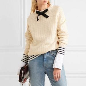 J. Crew Gayle Tie Neck Bow Sweater Cream